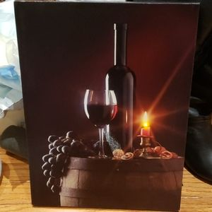 Lighted Picture with bottle and wine glass euc
